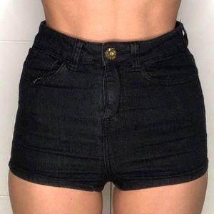Pants - High Waisted Denim Shorts